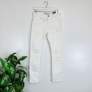 Zara Man Distressed White Skinny Jeans